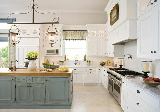 The kitchen island saga - Light blue and white kitchen ...