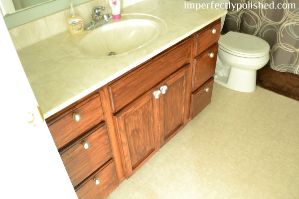 Fresh You may remember that I stained our master bathroom vanity last year so you can get the full tutorial on how to do this yourself here I used the same steps