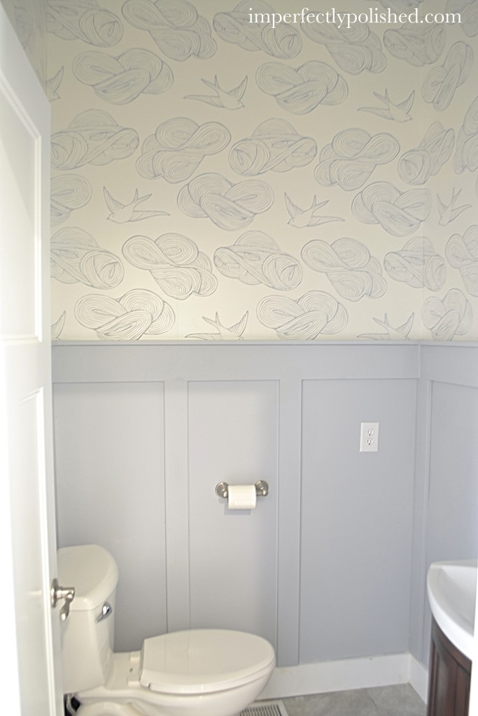 bathroom wallpapered