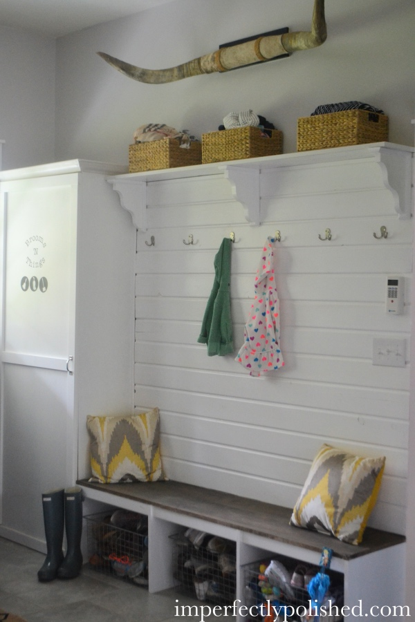 mudroom bench wall